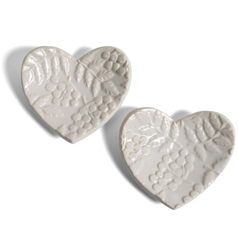 Barbarah Robertson Pottery Heart with Fern Pattern Ring Dish, Set of 2, Vanilla