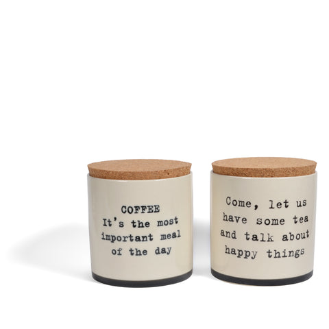 Bloomingville Josephine Coffee and Tea Ceramic Jars with Cork Lids, Set of 2