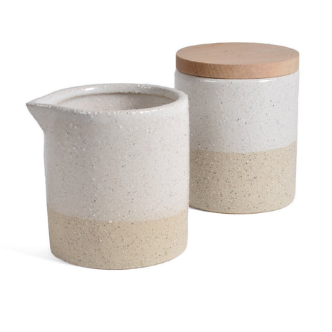 Sand Finished Ceramic Sugar and Creamer Set, White/Ivory