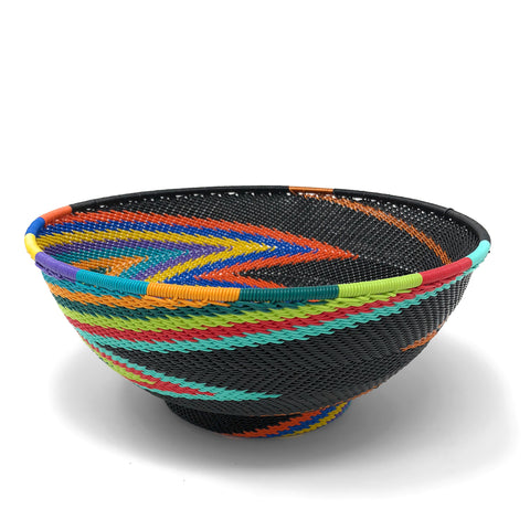Fair Trade Zulu Telephone Wire 8-inch Round Pedestal Bowl, African Rainbow