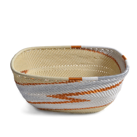 Fair Trade Zulu Telephone Wire 6.5-inch Square Bowl, Silver Sea