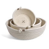 Brklyn Home Handmade Rope Low Nesting Baskets, Set of 3, White/Taupe