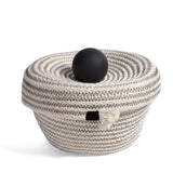 Brklyn Home 6-inch Lidded Rope Basket, White/Black