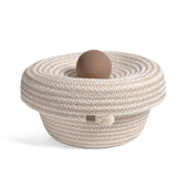 Brklyn Home 6-inch Lidded Rope Basket, White/Taupe