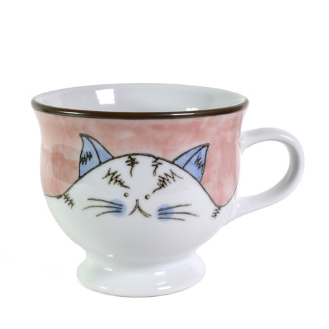 Creative Co-Op Cat Hand-Painted Stoneware Mug, Pink - The Barrington Garage