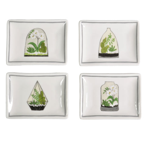 "Creative Co-Op Cacti and Orchids Terrariums 4"" x 3"" Trinket Plates, Set of 4 - The Barrington Garage"