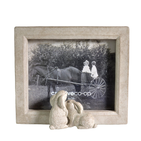 "Creative Co-Op 6"" x 7"" Photo Frame with Bunny Rabbits, Sand - The Barrington Garage"