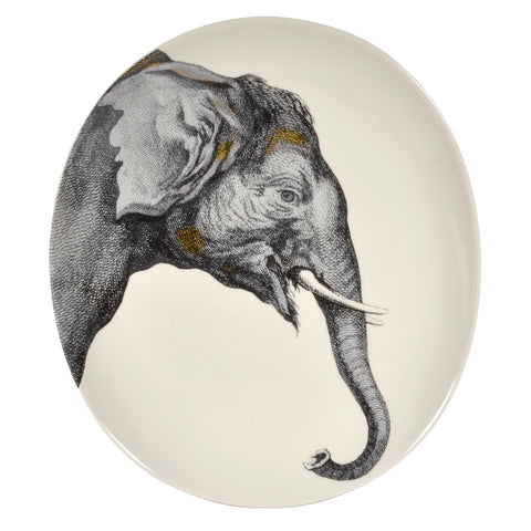 Creative Co-Op Elephant 12 x 10.5-inch Oval Stoneware Platter