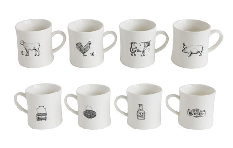 Creative Co-Op Stoneware Farm Animal Mugs, Set of 4