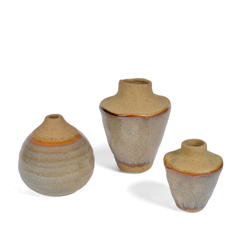 Creative Co-Op Reactive Glaze Small Stoneware Vases, Set of 3