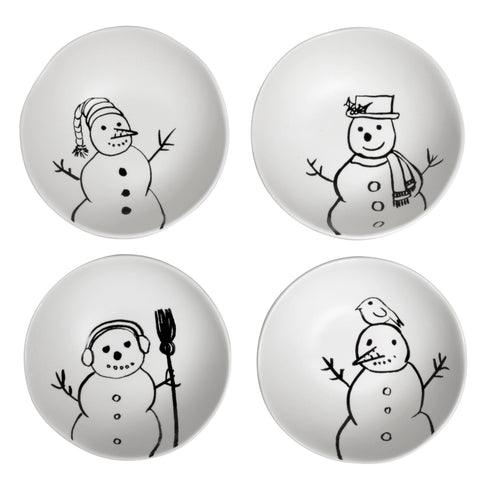 Creative Co-Op 4-inch Sketched Snowmen Stoneware Bowls, Set of 4