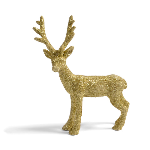 Creative Co-Op Golden Deer with Glitter Figurine, 6 x 4-1/4 inches