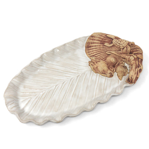 Charlestown Porcelaine Palm Leaf with Sea Creatures 12-inch Oval Tray