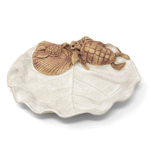 Charlestown Porcelaine Sea Grape Leaf Platter with Mother and Baby Turtles