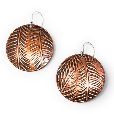 Copper Relics Handmade 1.25-inch Round Fern Leaf Earrings
