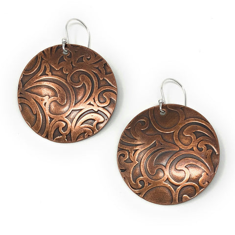 Copper Relics Handmade 1.25-inch Round Paisley Earrings