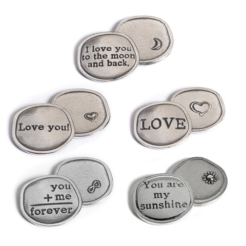 Crosby and  Taylor Love Collection Pewter Sentiment Coins, Set of 5 - The Barrington Garage