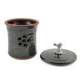 Oregon Stoneware Studio Bird Garlic Pot with Pewter Finial - The Barrington Garage
