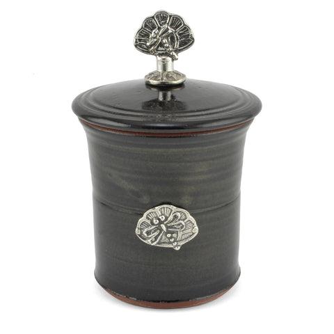 Oregon Stoneware Studio Dragonfly Garlic Pot with Pewter Finial - The Barrington Garage