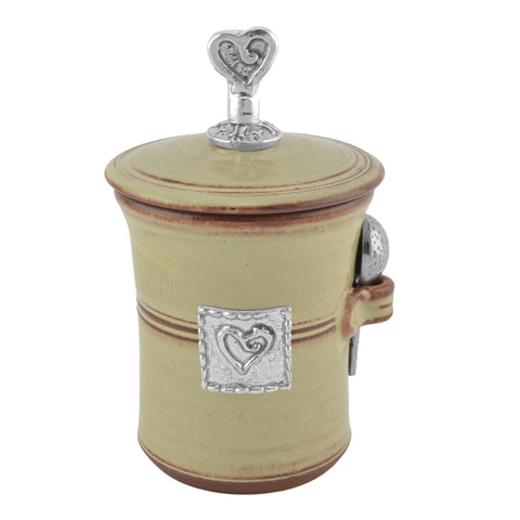 Oregon Stoneware Studio Heart Salt Pot with Pewter Finial - The Barrington Garage