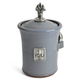 Oregon Stoneware Studio Fleur de Lys Salt Pot with Pewter Finial - The Barrington Garage