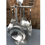 Crosby and Taylor Bird Pewter Measuring Cups with Display Post