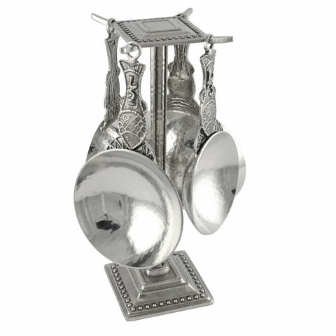 Crosby and Taylor Fish Pewter Measuring Cups with Display Post