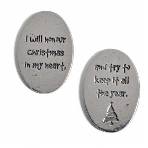 Crosby & Taylor Dickens I Will Honour Christmas Pewter Sentiment Coins, Set of 6