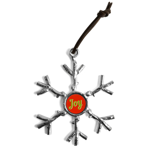 Crosby & Taylor Pewter Joy Twig Snowflake Ornament