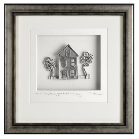 Cynthia Webb Designs Cottage Pewter Wall Art, Antique Silver Wood Frame