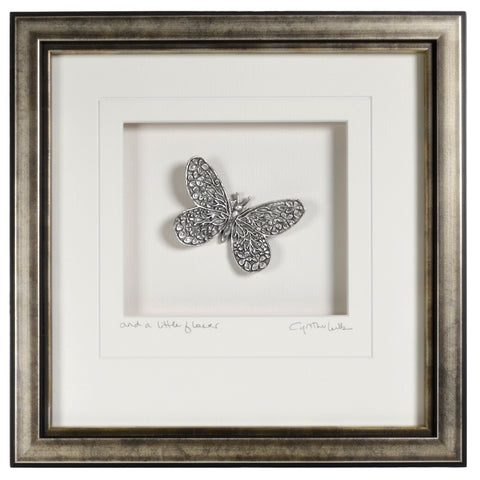 Cynthia Webb Designs Butterfly Pewter Wall Art, Antique Silver Wood Frame