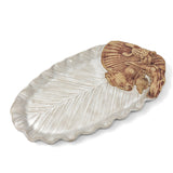 Charlestown Porcelaine Palm Leaf with Sea Creatures 14-inch Oval Tray