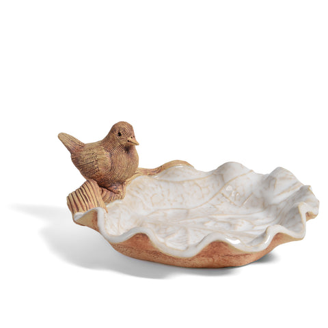 Charlestown Porcelaine Bird on Leaf 6-inch Shallow Dish for Candy, Nuts, or Soap