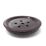 Clay Path Studio Button Soap Dish Sponge Holder, Eggplant Purple