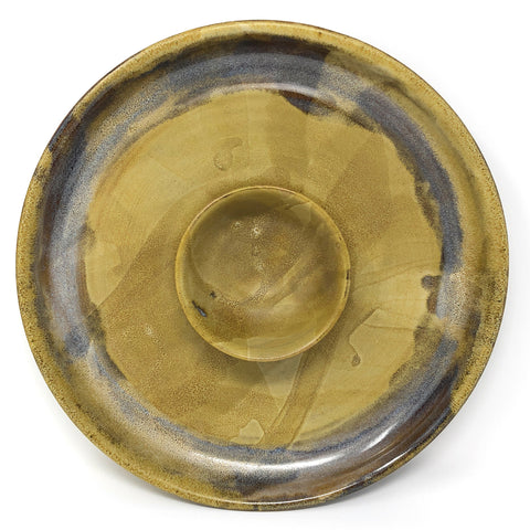 Clay Path Studio Chip and Dip Platter, Mustard