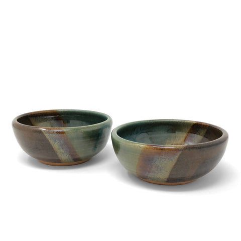 Clay Path Studio Dip or Dessert Bowl, Seaweed Brown Green, Set of 2