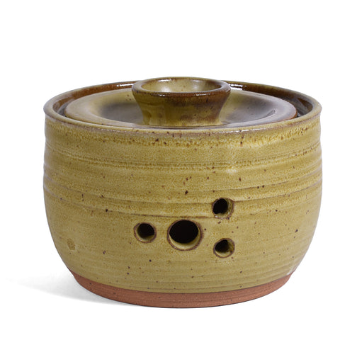 Clay Path Studio Handmade Pottery Garlic Keeper Jar, Mustard