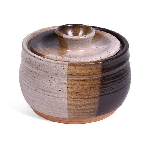 Clay Path Studio Handmade American Pottery Sugar Bowl, Macchiato