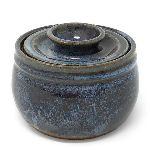 Clay Path Studio Handmade Pottery Sugar Bowl, Eggplant