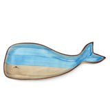 Creative Co-Op Whale 10.25-inch Stoneware Plate, Blue and Tan DA9374