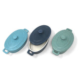 Creative Co-Op Mini Stoneware Lidded Bakers in Coastal Colors, Set of 3