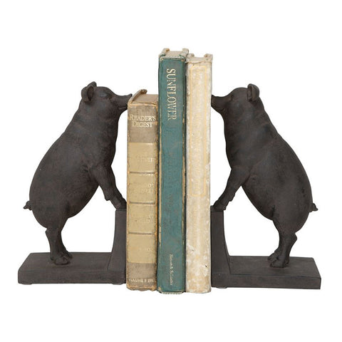 Creative Co-Op Resin Pig Bookends, Set of 2, Black