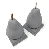 Creative Co-Op Pear Shaped Resin Bookends, Gray, Set of 2