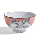 Creative Co-Op Hand-Painted Cat 4.5-inch Stoneware Bowl, Pink