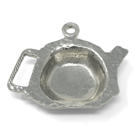 Crosby & Taylor Teapot Shaped Pewter Teabag Holder Trinket Dish