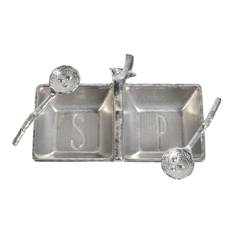 Crosby & Taylor Pewter Salt & Pepper Tray with Twig Bird's Nest Spoons