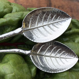 Crosby & Taylor Pewter Twig Condiment Spoons, Set of 2