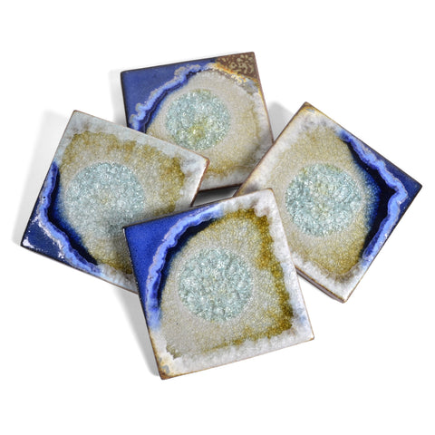 Set of 4 CSTR-S4-TM Tin Man Dock 6 Pottery Coasters with Fused Glass