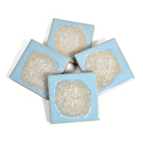 Dock 6 Pottery Coasters with Fused Glass, Set of 4