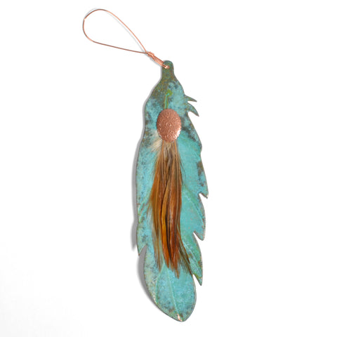 Dos Damas Designs Feather 7-inch Copper Ornament
